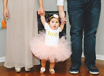 Uno First Birthday Peach and Gold Tutu Outfit
