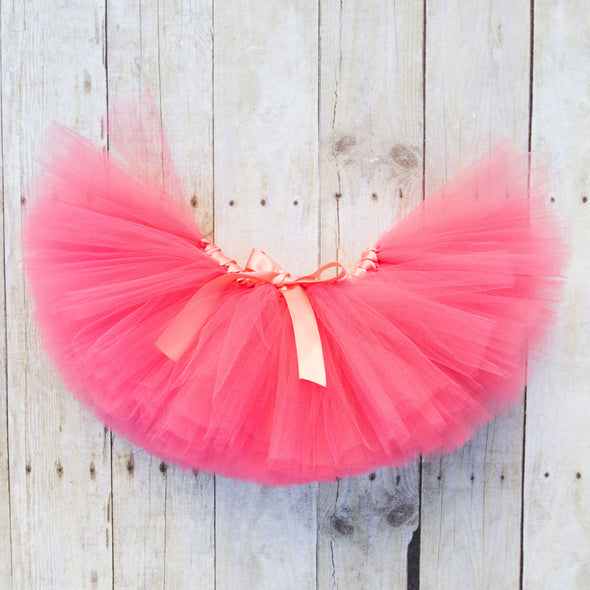 coral tulle tutu by sweet chubby cheeks
