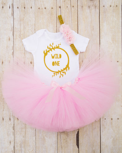 Wild One First Birthday Outfit in Pink and Gold