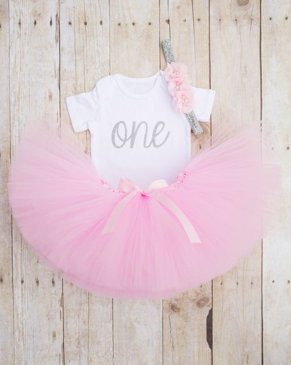 Pink and Silver Birthday Tutu Outfit