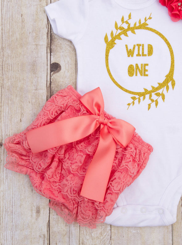 Wild One First Birthday Outfit - Coral and Gold