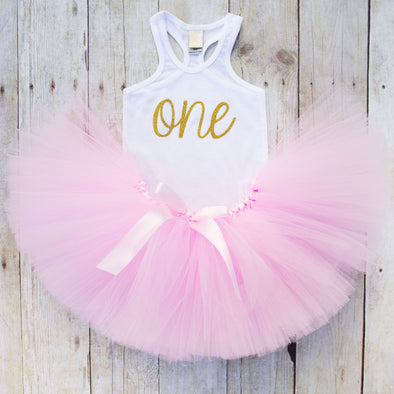 Pink and Gold First Birthday Tutu and Tank Top Outfit
