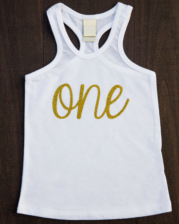 racer back tank top with gold glitter one across front