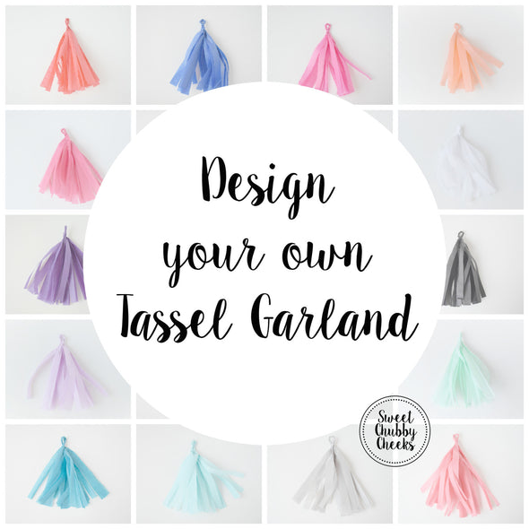 design your own tissue paper tassel garland