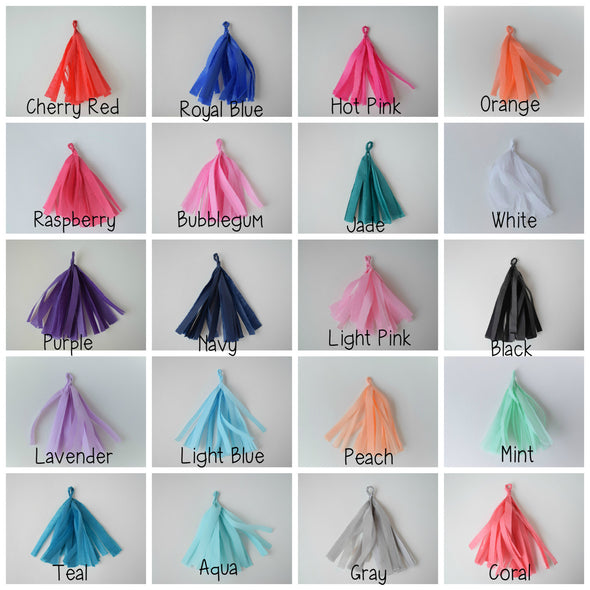 tissue paper tassel garland color chart
