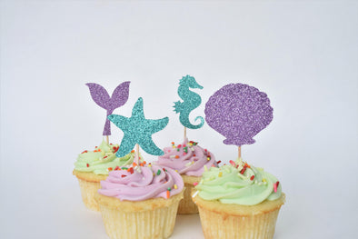 set of mermaid themed cupcake toppers