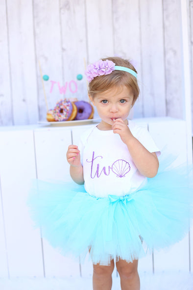 Mermaid Birthday Tutu Outfit with Seashell Two