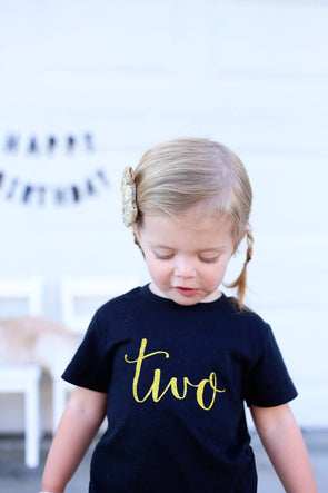 Two Birthday Shirt in Black and Gold