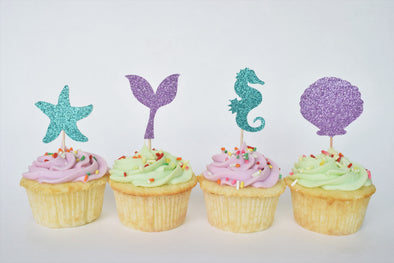 mermaid under the sea party cupcake toppers