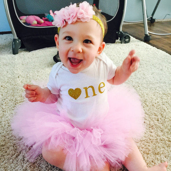 first birthday tutu outfit in pink and gold