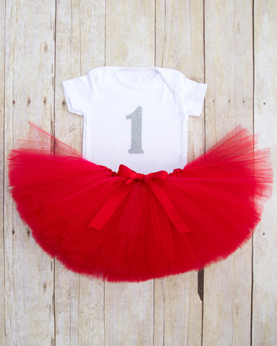 red and silver first birthday tutu outfit