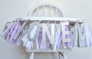 High Chair Tassel Garland in Lavender and Silver with Optional ONE Banner