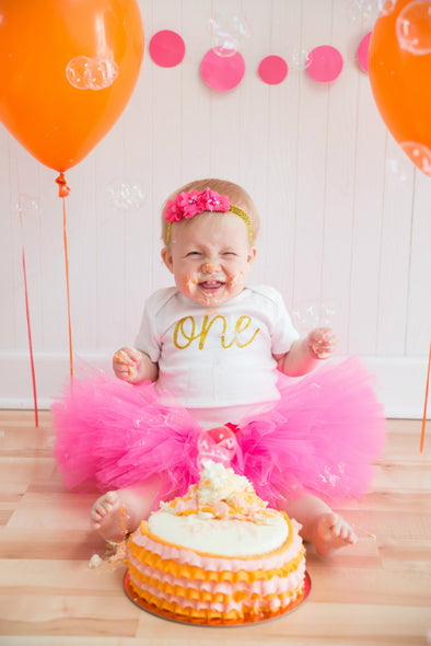 hot pink first birthday girl tutu outfit