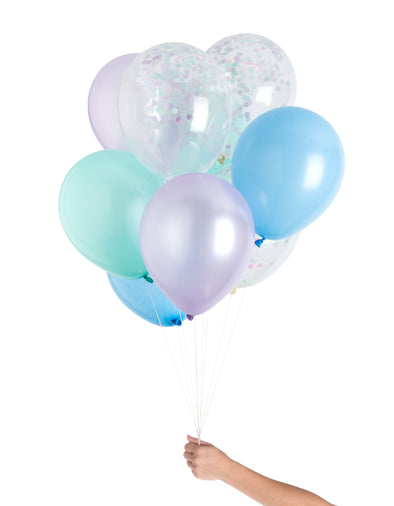 set of 12 balloons for mermaid birthday party