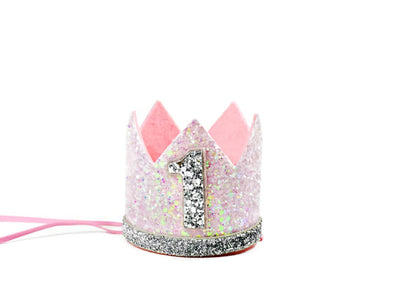 pink and silver glitter crown with number 1