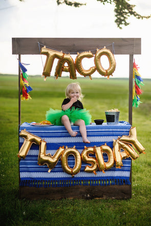 taco twosday balloon set in gold sold by sweet chubby cheeks