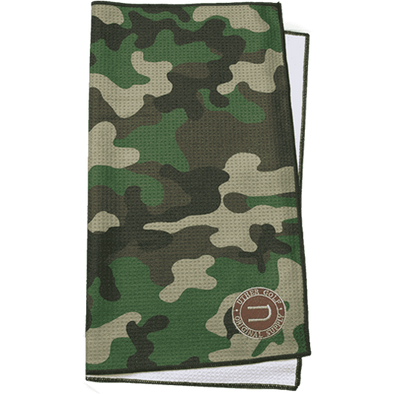 Large microfiber sublimation printed camo golf towel with embroidery