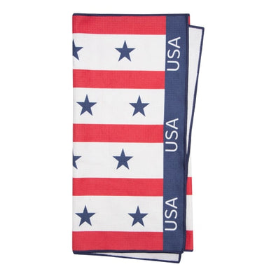 Large microfibre sublimation printed USA golf towel with embroidery. Centre slit / hole.