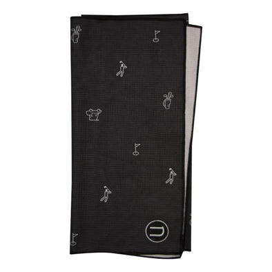 Tour waffle microfiber golf towel in black with golf icons on it. Printed sublimation design and embroidery. Golf towel is big, long and narrow.