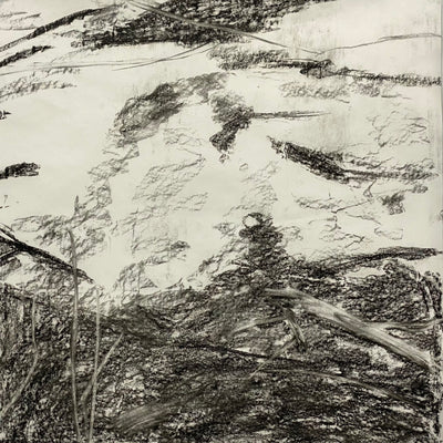 Juanita Bellavance, Changing terrain concept drawing, From the Chestatee River portfolio, 2021, Charcoal on paper, 24 x 24 inches.