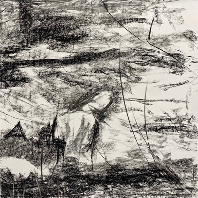 Juanita Bellavance, Sands of time concept drawing, From the Chestatee River portfolio, 2021, Charcoal on paper, 24 x 24 inches.