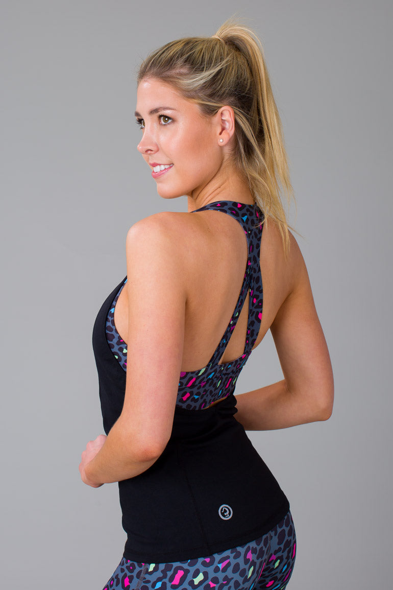 Raving Leopard Singlet with Built-In Bra