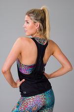 Women's Black Mesh Back Singlet