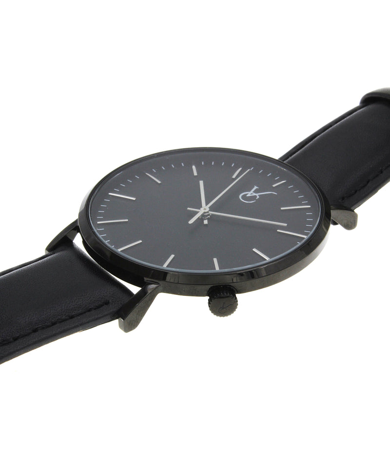 Black Leather & Black Trim Watch