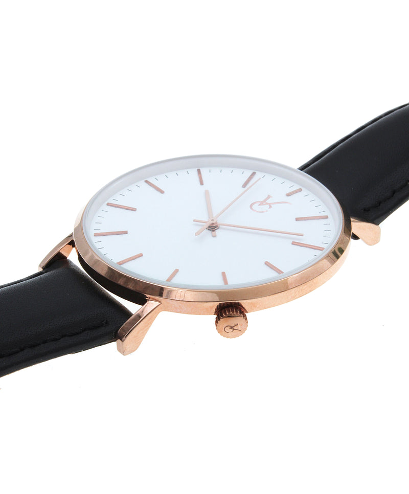 Black Leather & Rose Gold Trim Watch