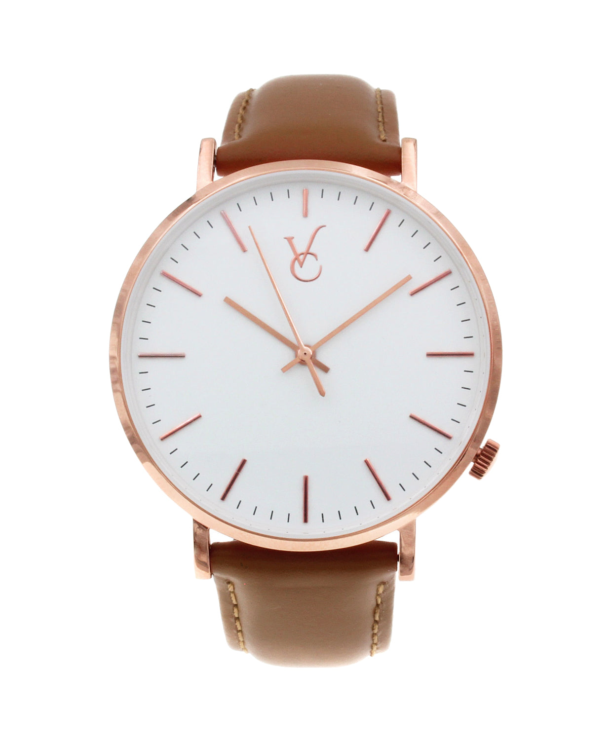 Brown Leather & Rose Gold Trim Watch