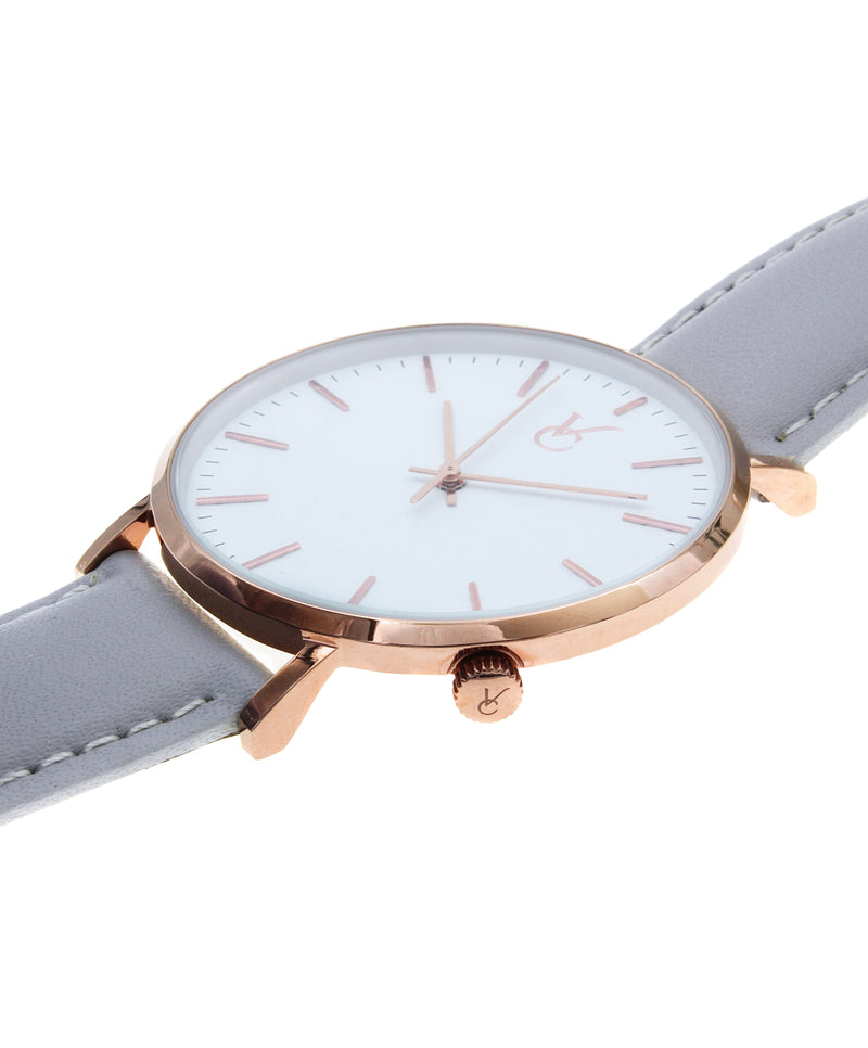 Gray Leather & Rose Gold Trim Watch