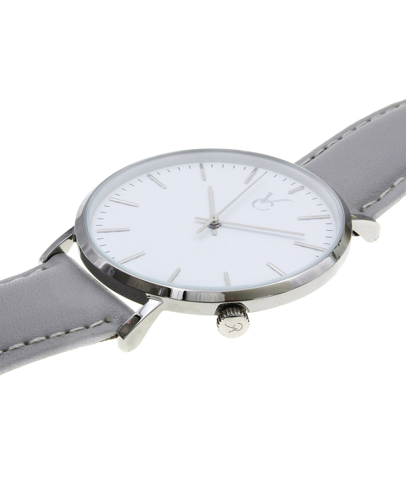 Gray Leather & Silver Trim Watch