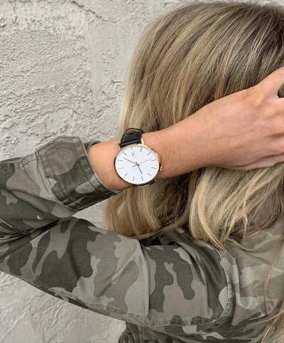 Model Wearing Black Leather & Rose Gold Trim Watch