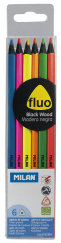 PENCIL - MILAN - ERGO FLUORESCENT COLOR PENCIL SET 6CT
