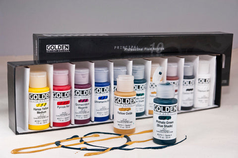 Golden Fluid Acrylics - 10 pc 1oz set