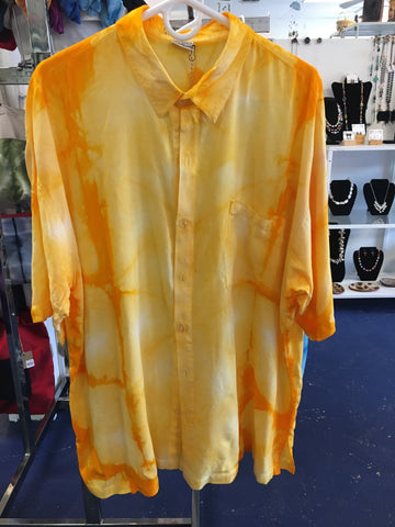 Men's hand dyed rayon short sleeved shirt