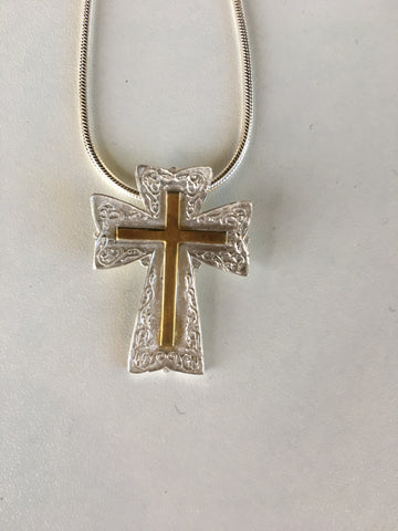 Fine silver and gold plate pendant necklace