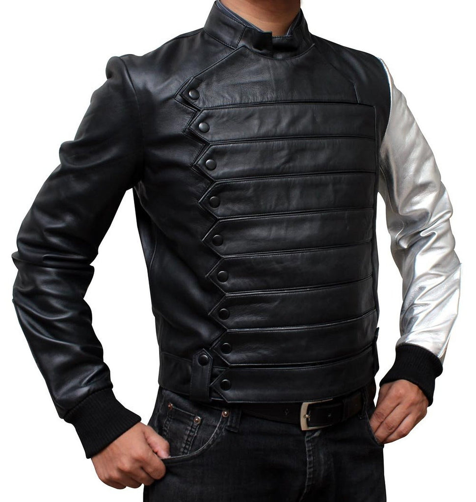 Silver Arm Winter Soldier Bucky Barnes Leather Jacket – Sa