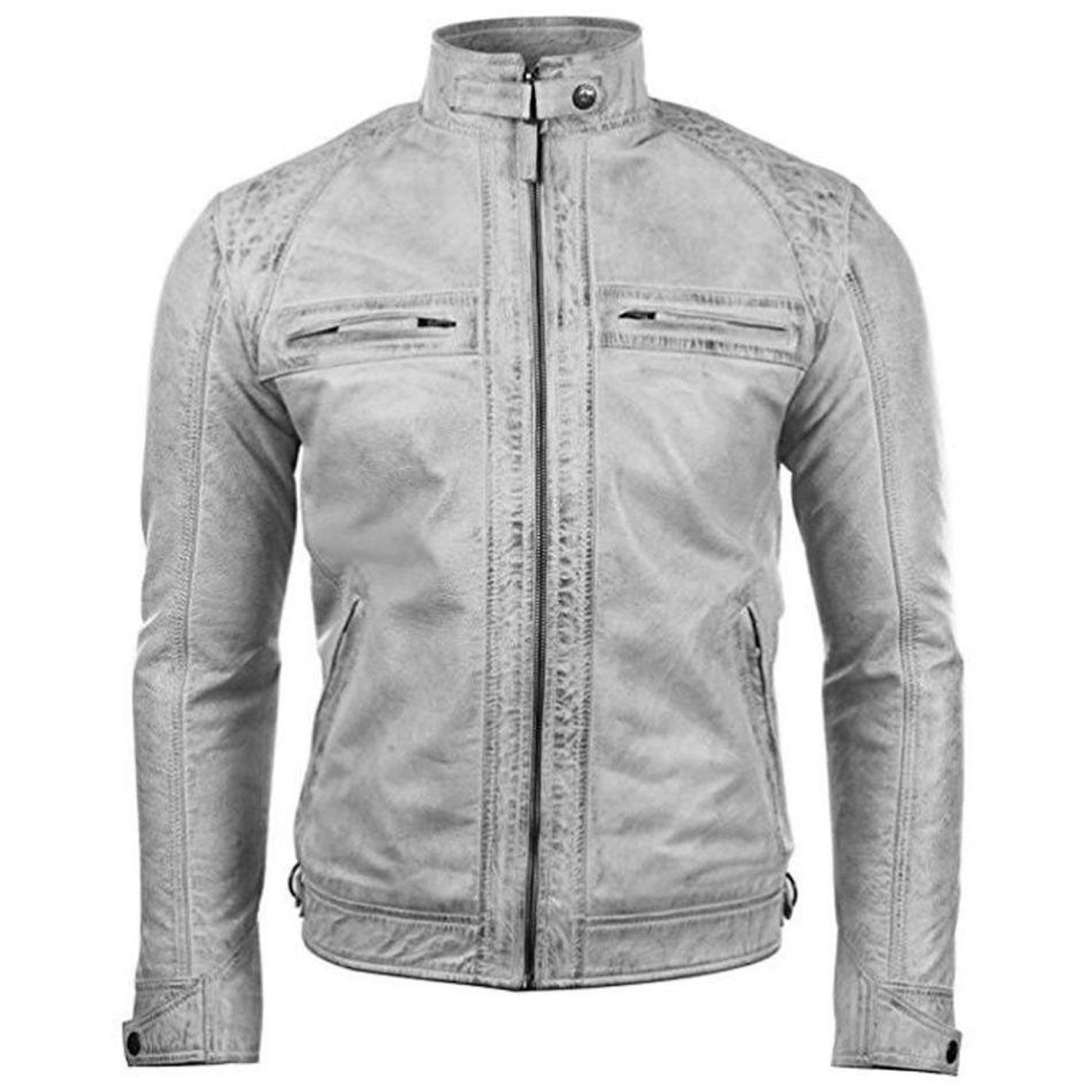 7ab7a0152 Men's Biker Motorcycle Vintage Distressed White Leather Jacket – Sa ...