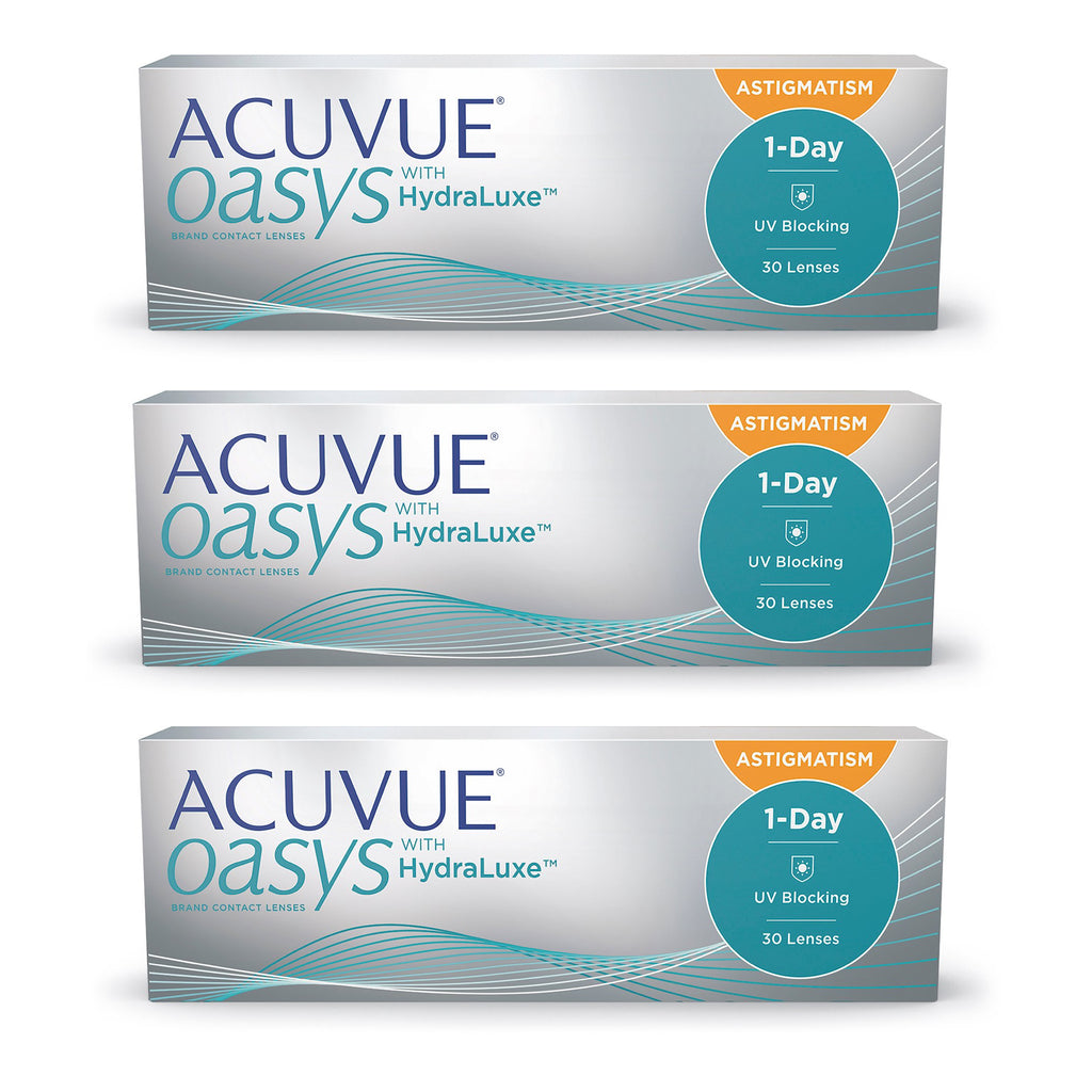 ACUVUE OASYS 1-Day with HydraLuxe for ASTIGMATISM - 90 Pack Contact Lenses $139.99 Express Post