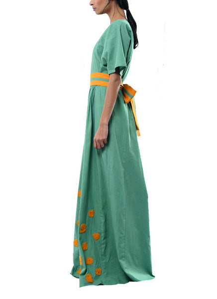 green maxi dress with applique and belt - kanelle - 2