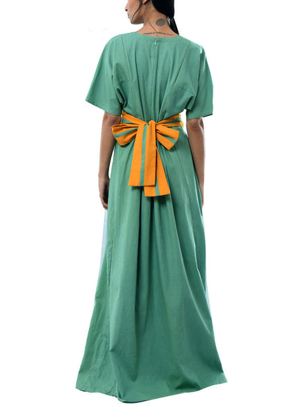 green maxi dress with applique and belt - kanelle - 3