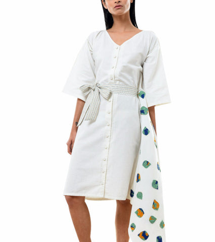 asymmetric white midi coat dress - kanelle - main