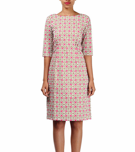 geometrical printed shift dress - Michelle Salins - main