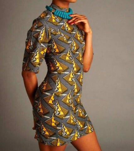 african print turtleneck dress - lila - mafrika - main