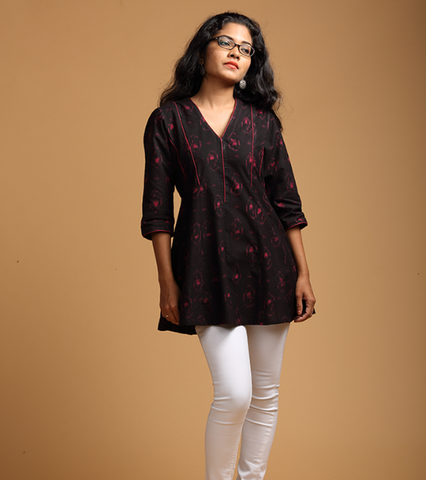 black and red flared tunic - seamstress.co.in - main
