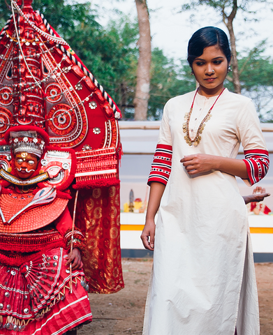 white red and black kodi theyyam kurta - seamstress.co.in - main
