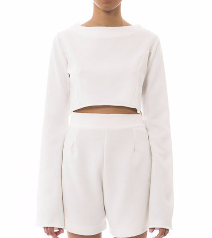 white long sleeve crop top - chanett - Kyna Collection - main