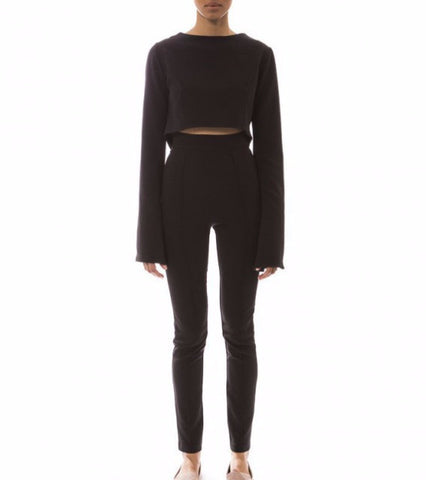 black long sleeve crop top - chanett - Kyna Collection - main