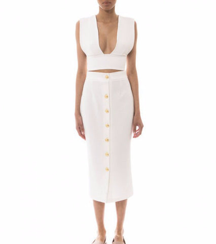 white pencil skirt - anaya - Kyna Collection - main